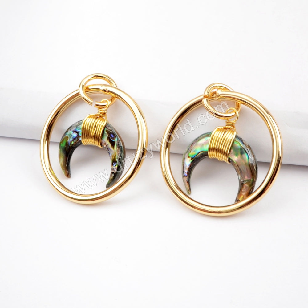 White Shell Abalone Shell Horn Circle Ring Pendant Gold Plated G1518