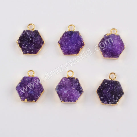 12mm Purple Hexagon Druzy Charm CL264