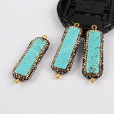 Rhinestone Pave Rectangel  Blue Natural How-lite Turqouoise Conenctor JAB633