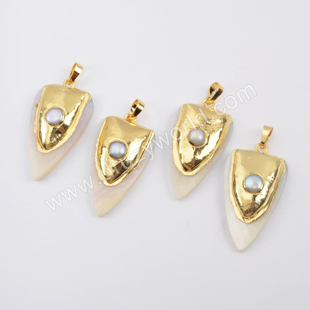 Gold Plated Natural White Shell & Pearl Pendant G1916