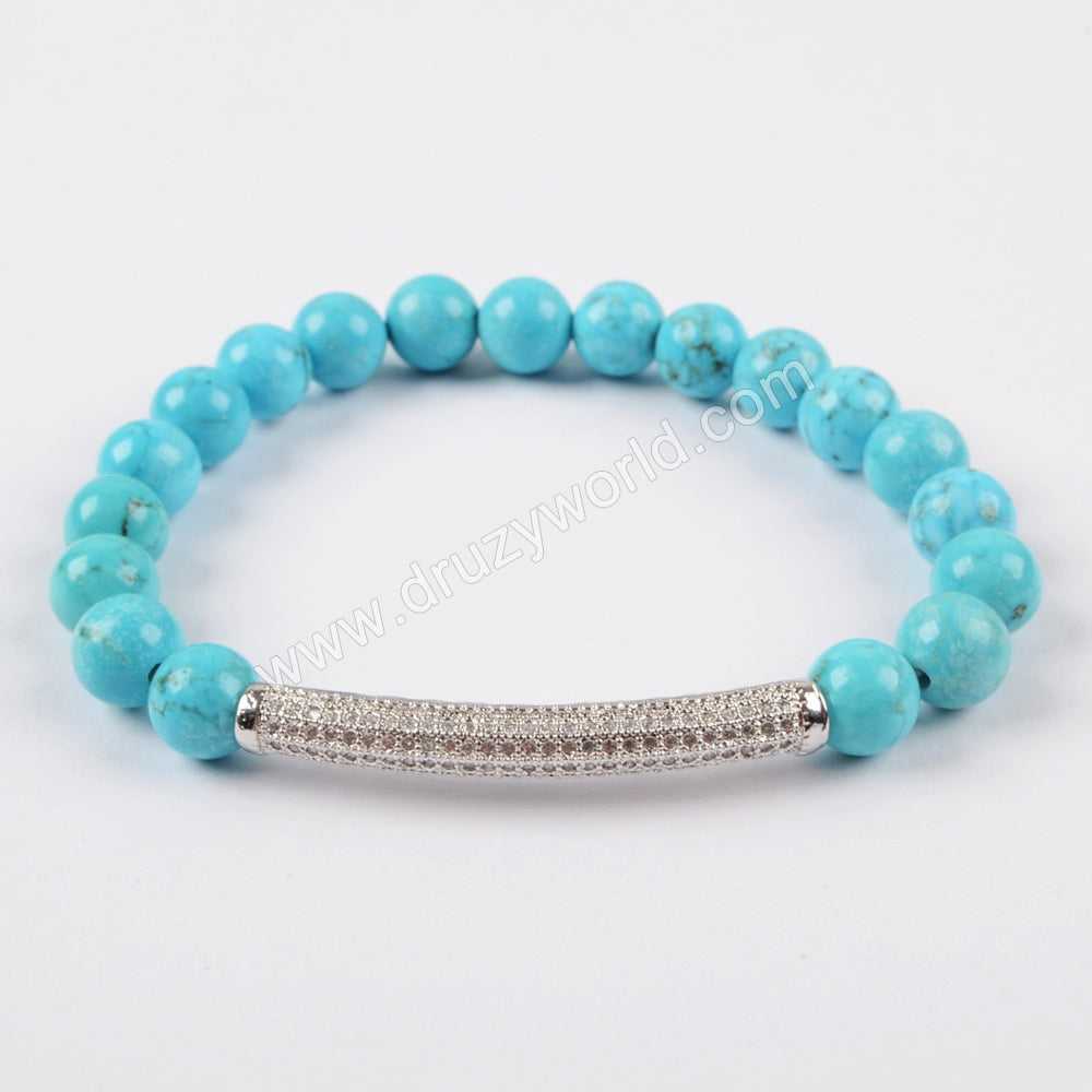 CZ Tube Bar With 8mm Gemstone Beads Bracelet Silver Plated S1475