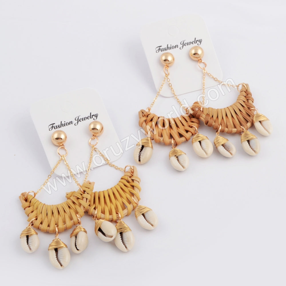 Gold Moon Bamboo Wave Cowrie Shell Earring WX1076