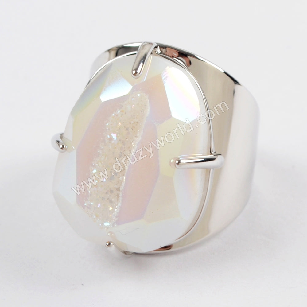 Claw Natural Titanium Druzy Faceted Ring For Women Silver Plated ZS0312
