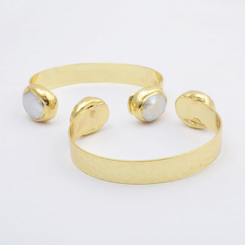 Natural Pearl Bangle Cuff Gold plated WX1819