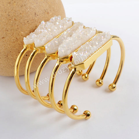 Hexagon Gold Plated Bezel Titanium AB Druzy Bar Bangle ZG0274