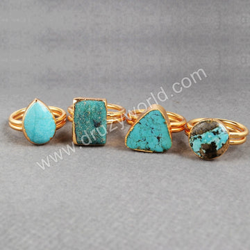 Cocktail Turquoise Ring, Gemstones Ring, 24K Gold G0149