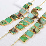 "20"" Gold Plated Natural Australia Jade Necklace G0401"
