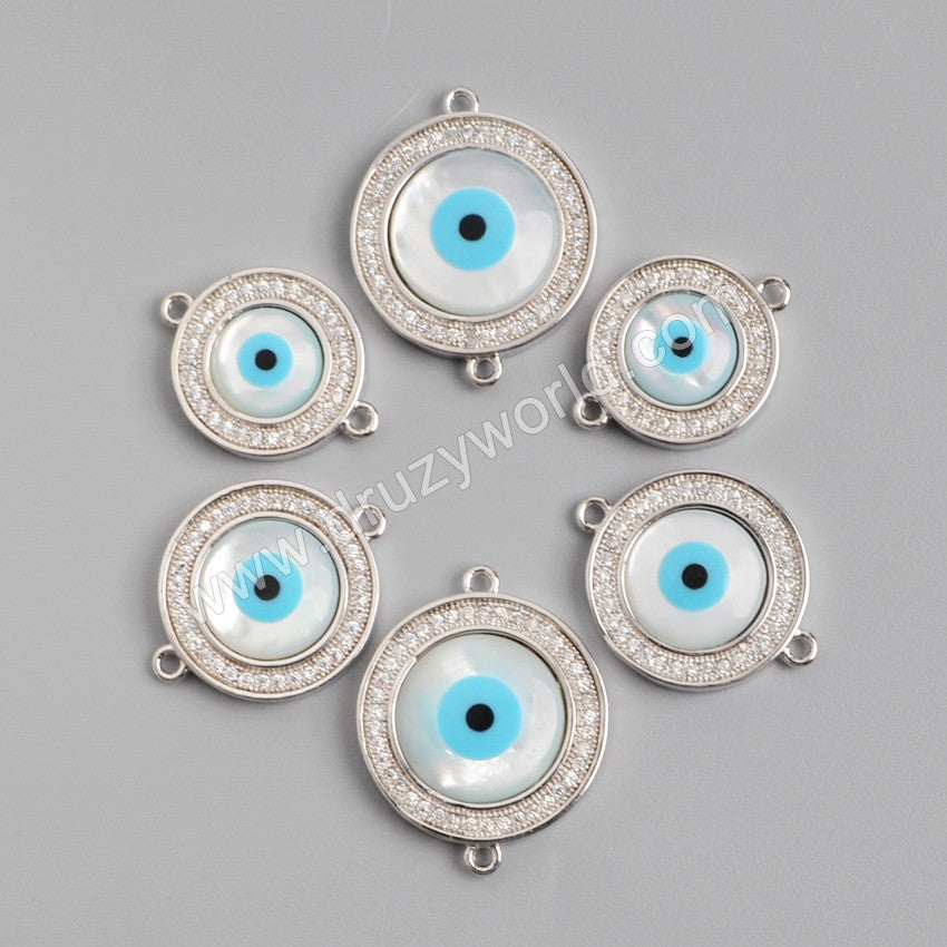 Round Silver Plated Bezel Evil Eye Mother Of Pearl Connector Double Bails WX003