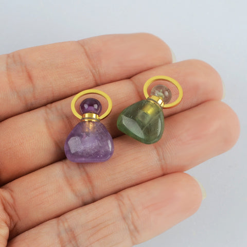 Tiny Natural Stone Green Fluorite Perfume Bottle Necklace G2018