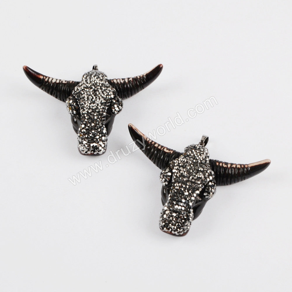 Rhinestone Pave Black Resin Ox Head Pendant JAB641