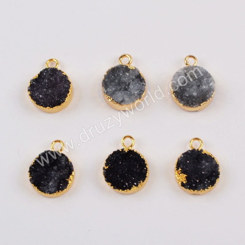 12mm Black Round Druzy Charm CL261