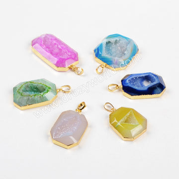 Rainbow Octagon Gold Plated Agate Druzy Geode Pendant Bead G0522
