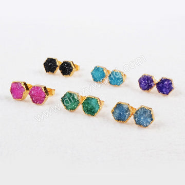 Gold Plated Colorful Hexagon Natural Agate Druzy Stud Earrings