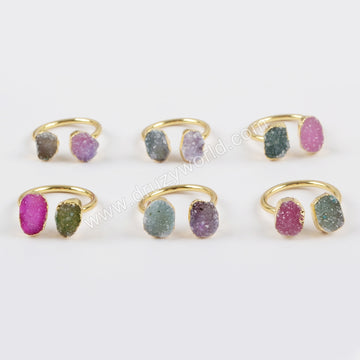 Gold Plated Double Rainbow Druzy Ring G1449