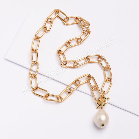 "14.5"" Gold Plated Natural Pearl Necklace HD0355"