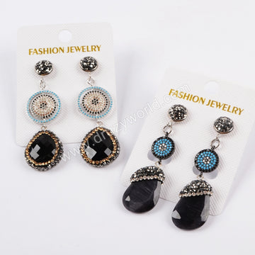 Rhinestone Pave Natural Agate CZ Micro Pave Earrings JAB834