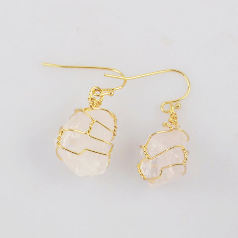 Wire Wrap White Quartz Dangle Earrings WX1861