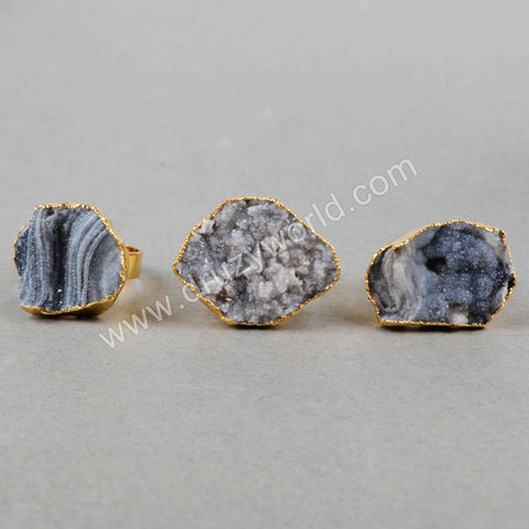 Gold Plated Natural Brilliant Galaxy Quartz Ring G0458