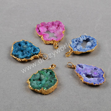 Gold Plated Freeform Rainbow Natural Druzy Agate Geode Slice Pendant Bead G0590