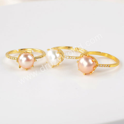 Natural Pearl Ring Fashion Women Jewelry 925 Sterling Silver WX1378