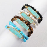 "14"" Gold Plated Natural Rectangle Turquoise Wrap Bracelet With 6mm Mixed Stones Beads G0791"