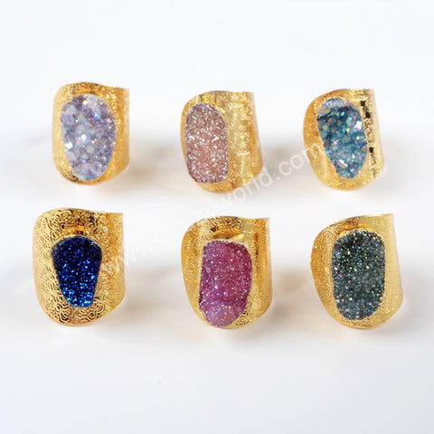 Gold Plated Rainbow Titanium AB Druzy Adjustable Ring G1528
