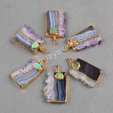 Gold Plated Natural Amethyst Druzy Slice & Natural Turquoise Pendant Bead G0355