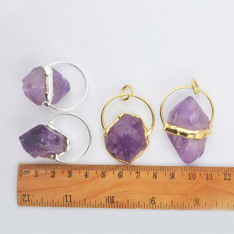 Natural Raw Amethyst Pendant In Gold Silver Stone WX1817