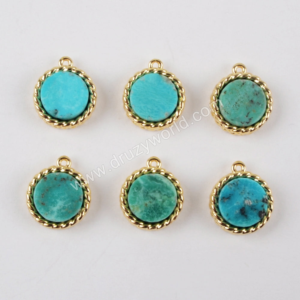 8mm Round Gold Plated Bezel Natural Turquoise Pendant Bead ZG0163