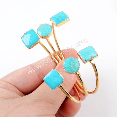 Multi Shapes Gold Plated Double Natural Turquoise Adjustable Bracelet G1541