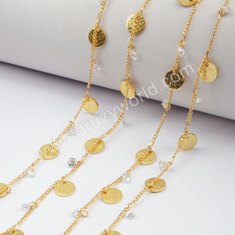 8mm Coin With White CZ Bead Chains In Gold Plated JT237
