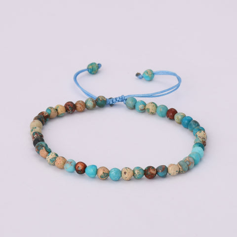 4mm Natural Ocean Jasper Bead Adjustable Summer Bracelet HD0348
