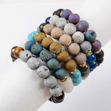 10mm Multi Kind Druzy Gemstone Beads Bracelet G1439