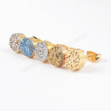 Gold Plated 8mm Round Natural Agate Titanium Druzy Stud Earrings G0889