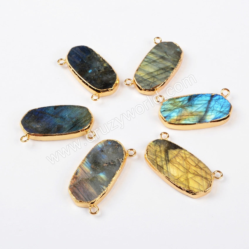 Gold Plated Oval Natural Labradorite Faceted Connector Double Bails G0540