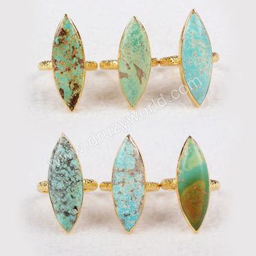 Gold Plated Marquise Natural Turquoise Ring G0446