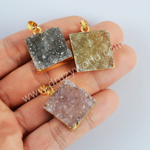 Gold Plated Square Agate Druzy Pendant G2022