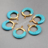 Gold Plated Round Circle Blue Turquoise Pendant Bead G0435 G0799