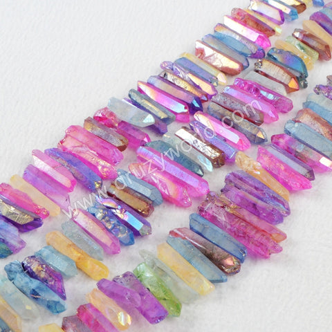 1 Strand of Rainbow Color Cluster Aura Daruzy Quartz Crystal Point Pendant Loose Beads G0905