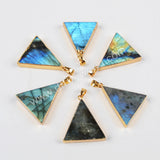 Gold Plated Triangle Natural Labradorite Faceted Pendant Bead G0492