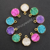 Round Gold Pleted Natural Druzy Agate Geode Charm G1045