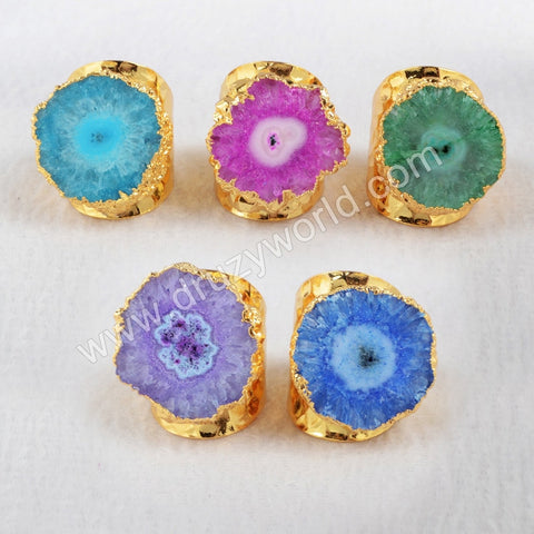 Gold Plated Rainbow Flower Solar Quartz Band Ring
