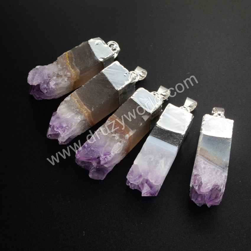 Silver Plated Ntural Amethyst Crystal Point Bar Pendant