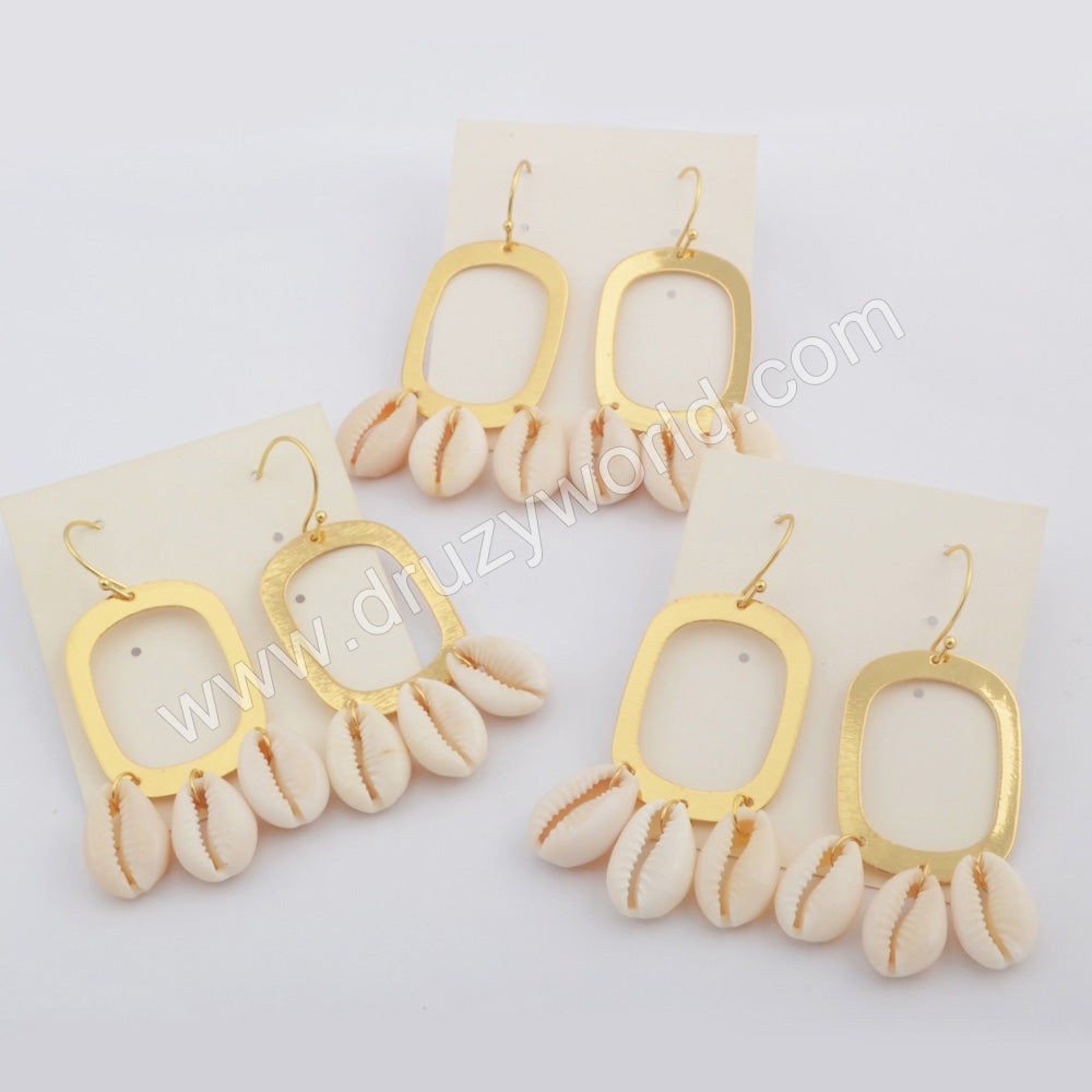 Gold Plated Teardrop Natural Cowrie Shell Dangle Earrings G1783