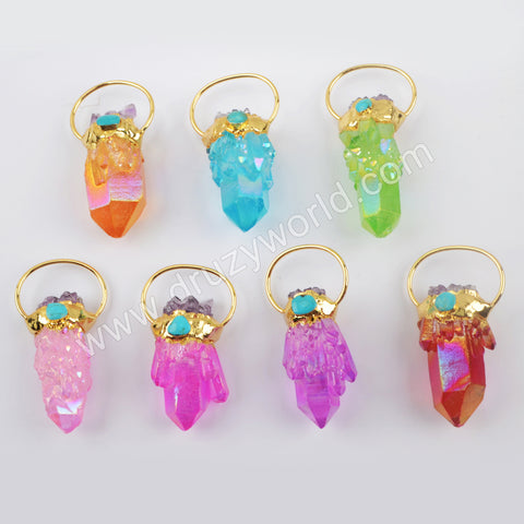 Crystal Cluster Pendant Fashion Jewelry Making Gold Plated G1944