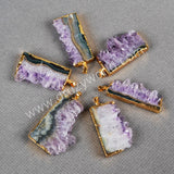 Freeform amethyst slice pendant in electroforming gold plated