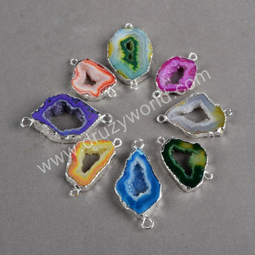 Colored druzy geode slice jewelry connectors