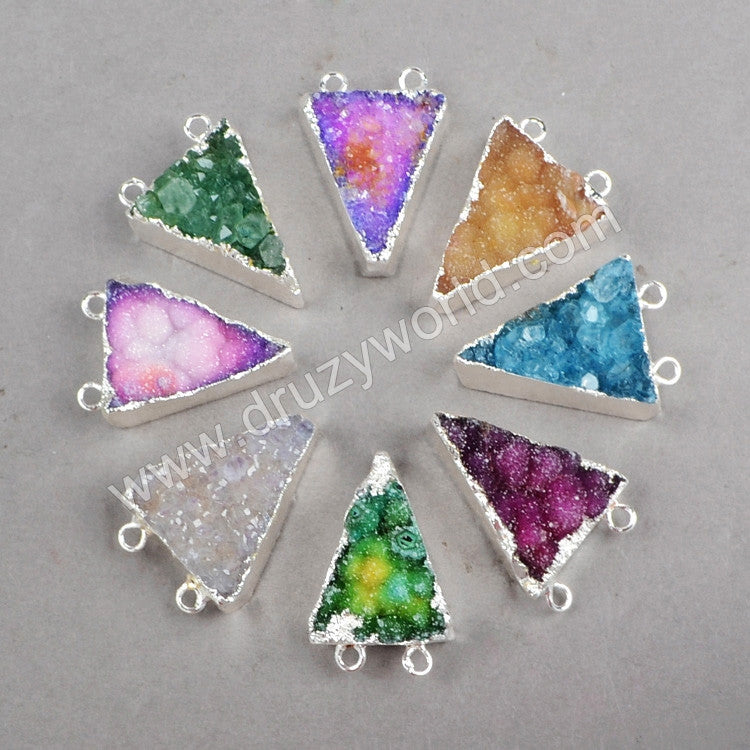 Triangle druzy crystal quartz stone connectors in silve plated