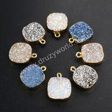 Rainbow Natural Agate Titanium Druzy Pendant Charm Gold Plated G1074