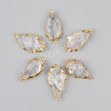 Gold Plated Rough Natural White Quartz Carved Arrowhead Connector Double Bails G0942